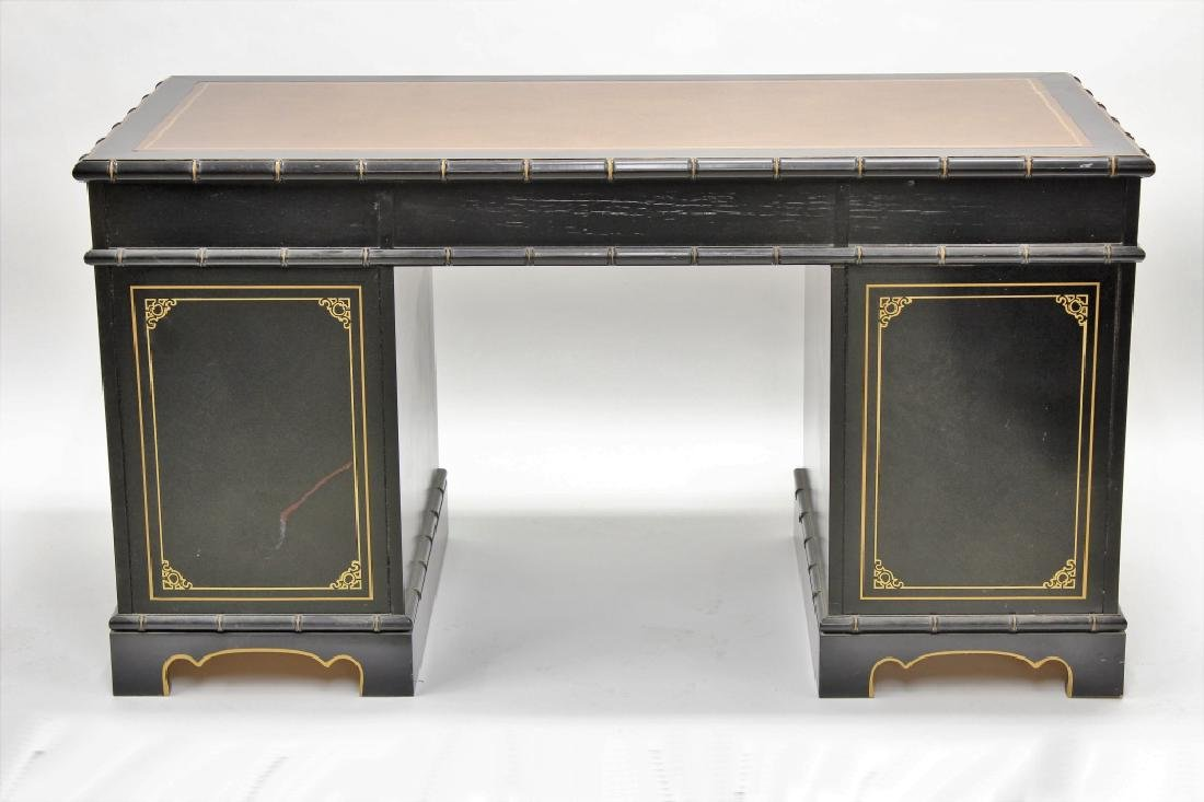 Ebonized  Faux Bamboo Chinoiserie Desk and Chair - 6