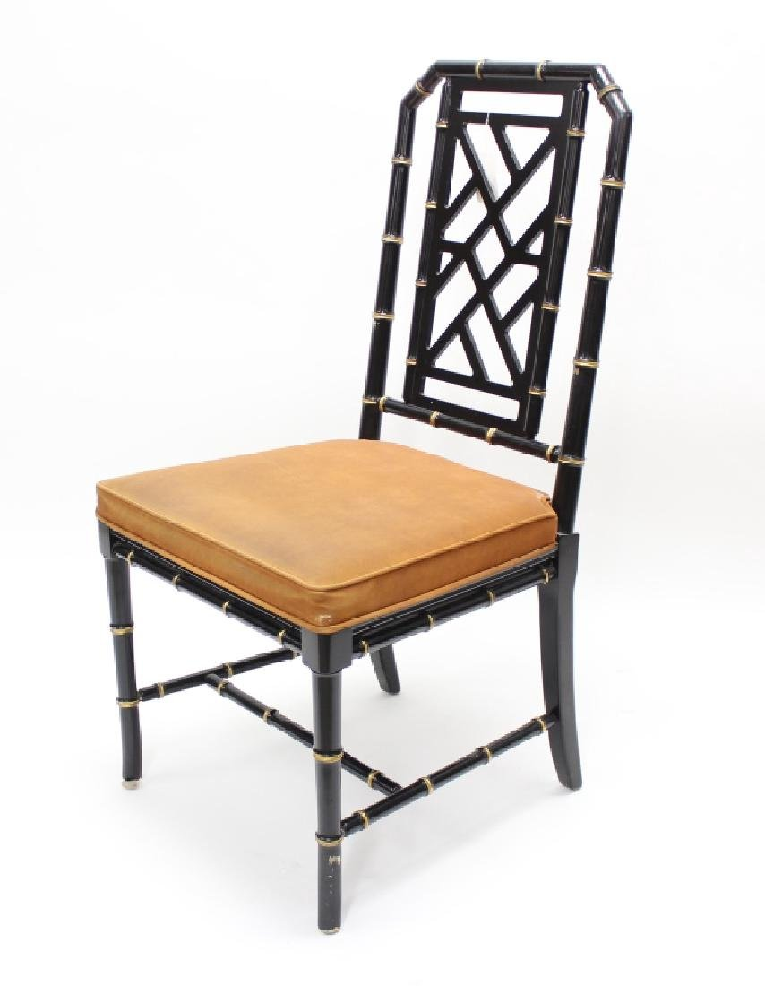 Ebonized  Faux Bamboo Chinoiserie Desk and Chair - 8