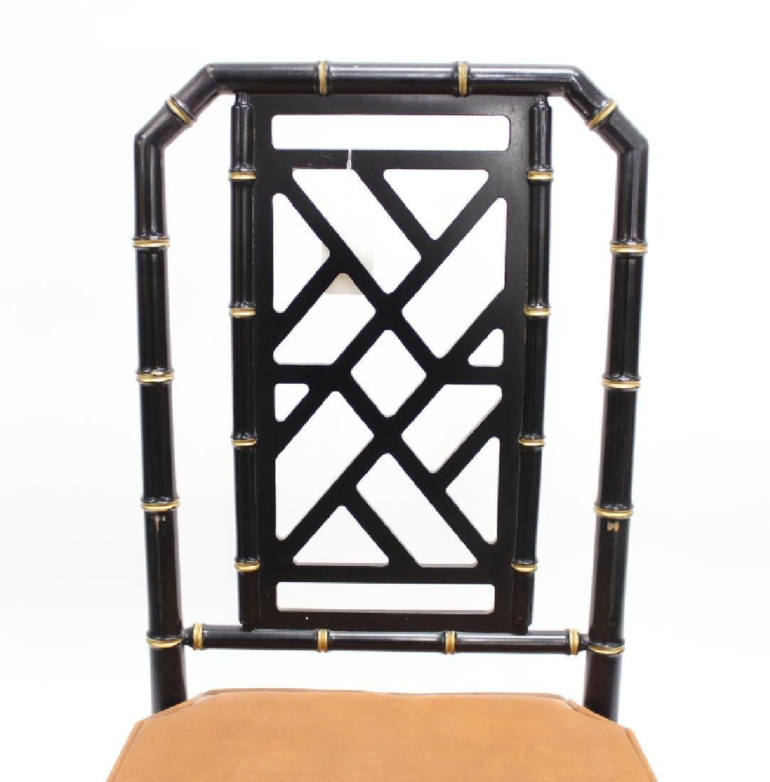 Ebonized  Faux Bamboo Chinoiserie Desk and Chair - 9