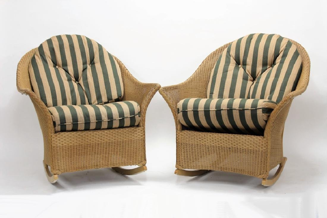 Pair of Lloyd Loom Wicker Patio Rocking Chairs