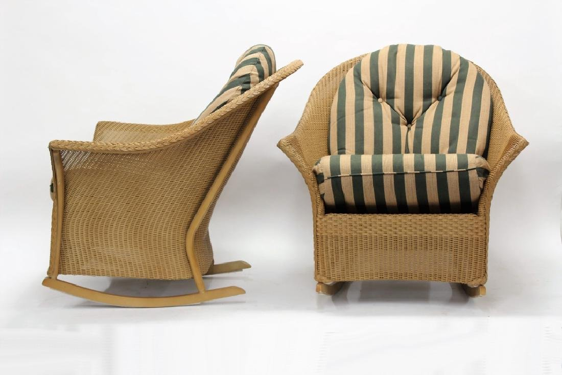 Pair of Lloyd Loom Wicker Patio Rocking Chairs - 2