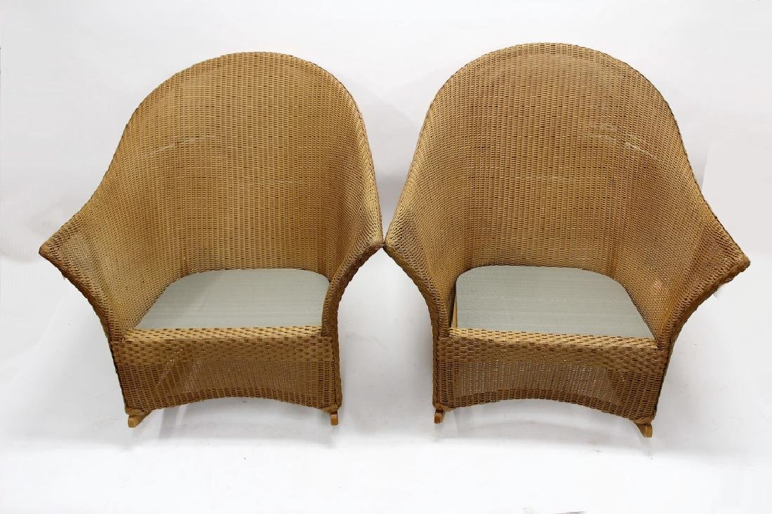 Pair of Lloyd Loom Wicker Patio Rocking Chairs - 4