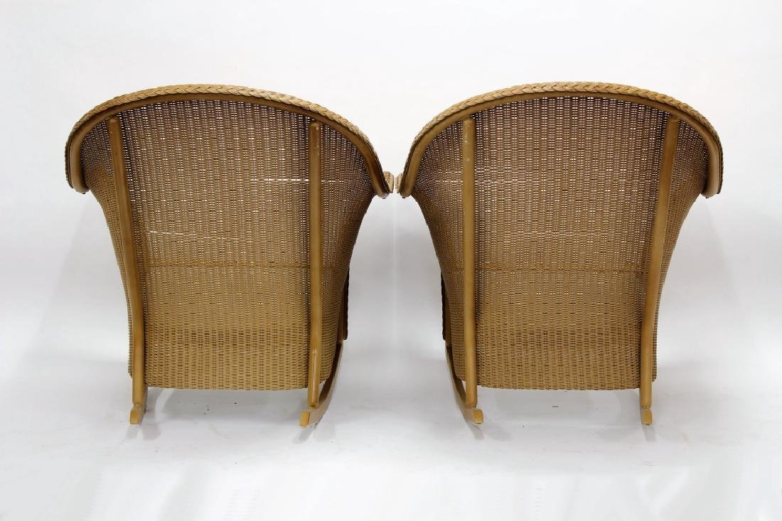 Pair of Lloyd Loom Wicker Patio Rocking Chairs - 5