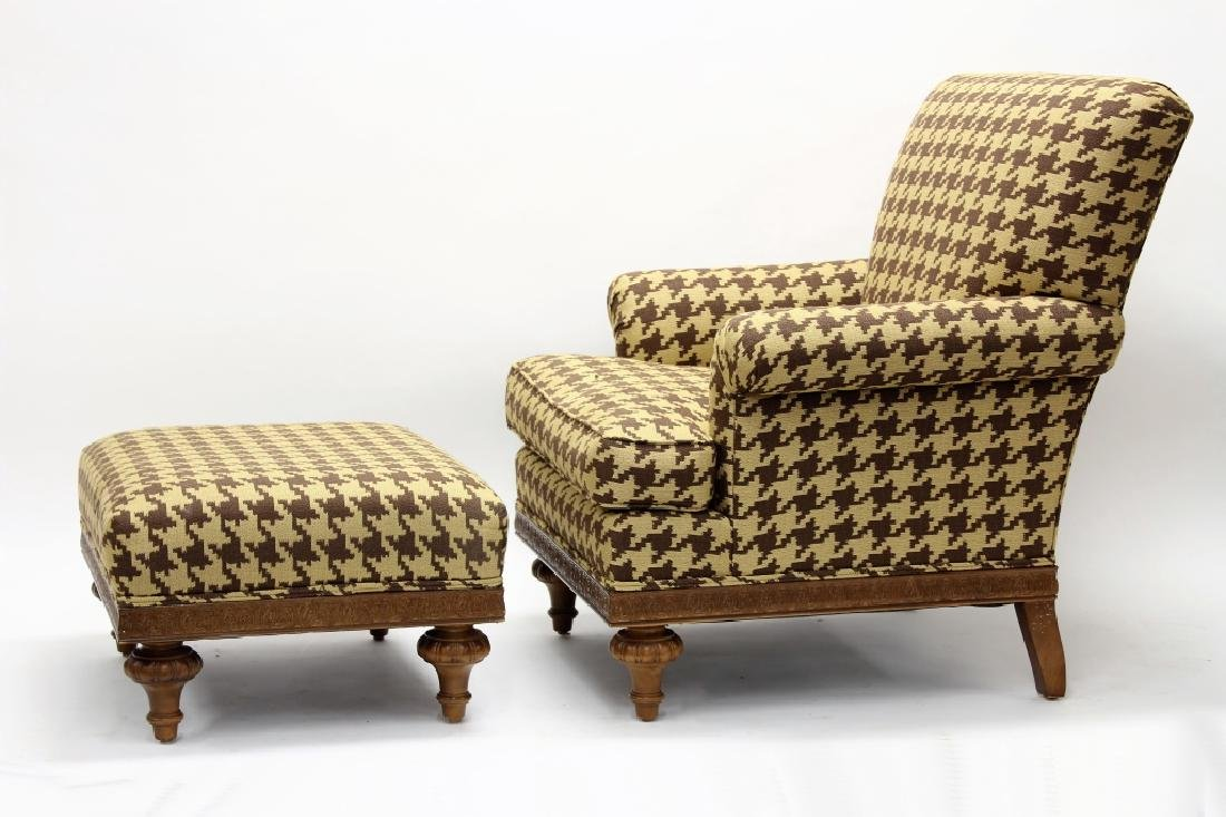 Club Chair with Ottoman, Upholstered, 20th c.