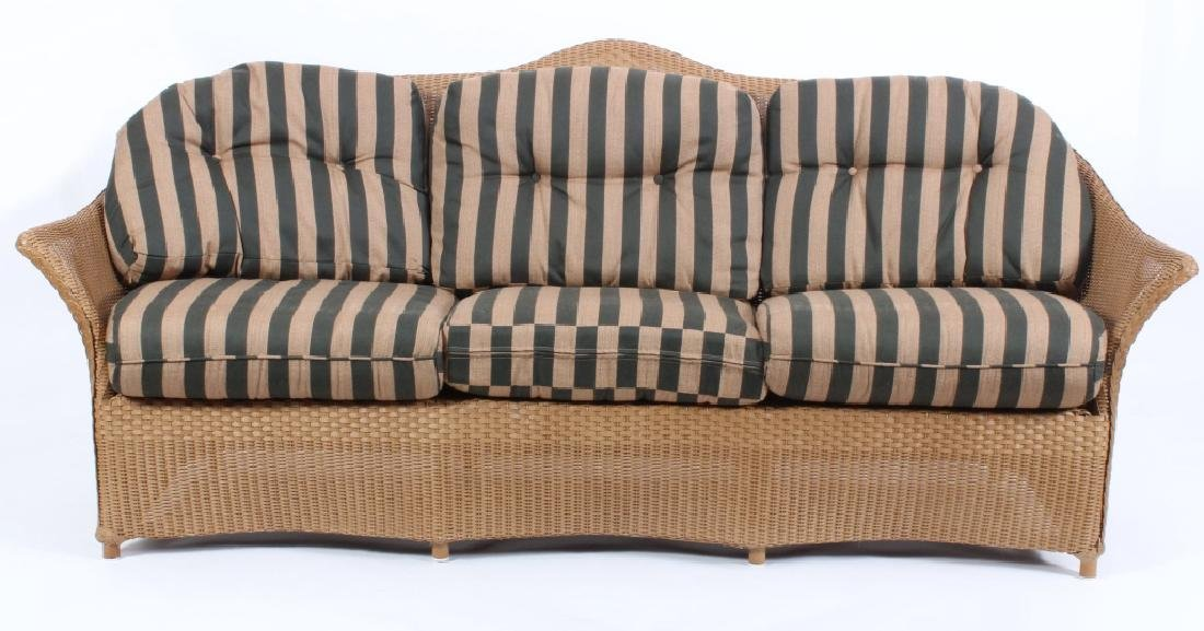 Lloyd Loom Wicker Patio Settee w/ Striped Cushions