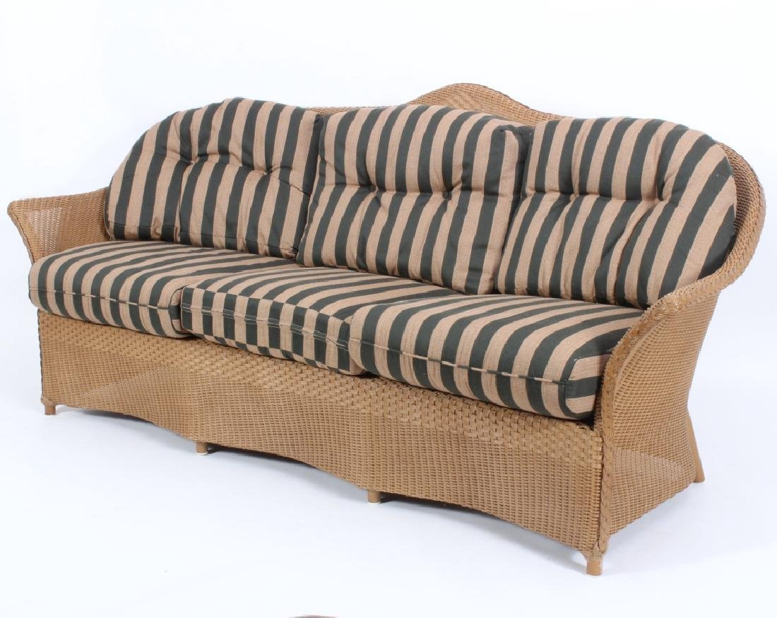 Lloyd Loom Wicker Patio Settee w/ Striped Cushions - 2