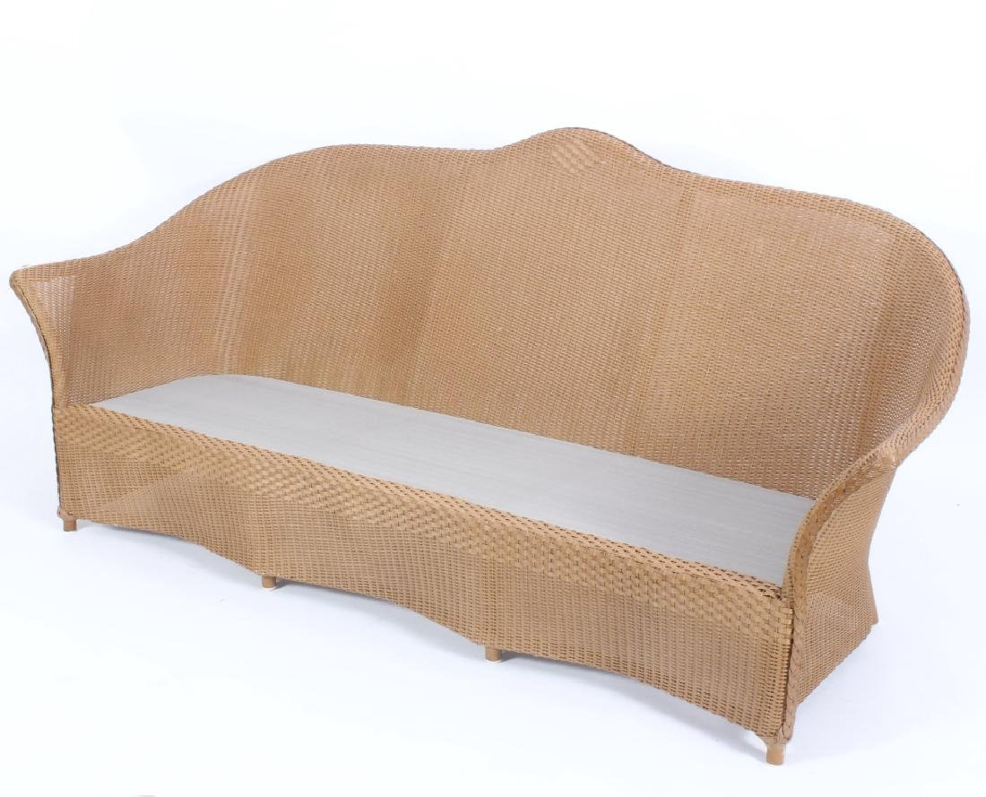 Lloyd Loom Wicker Patio Settee w/ Striped Cushions - 3