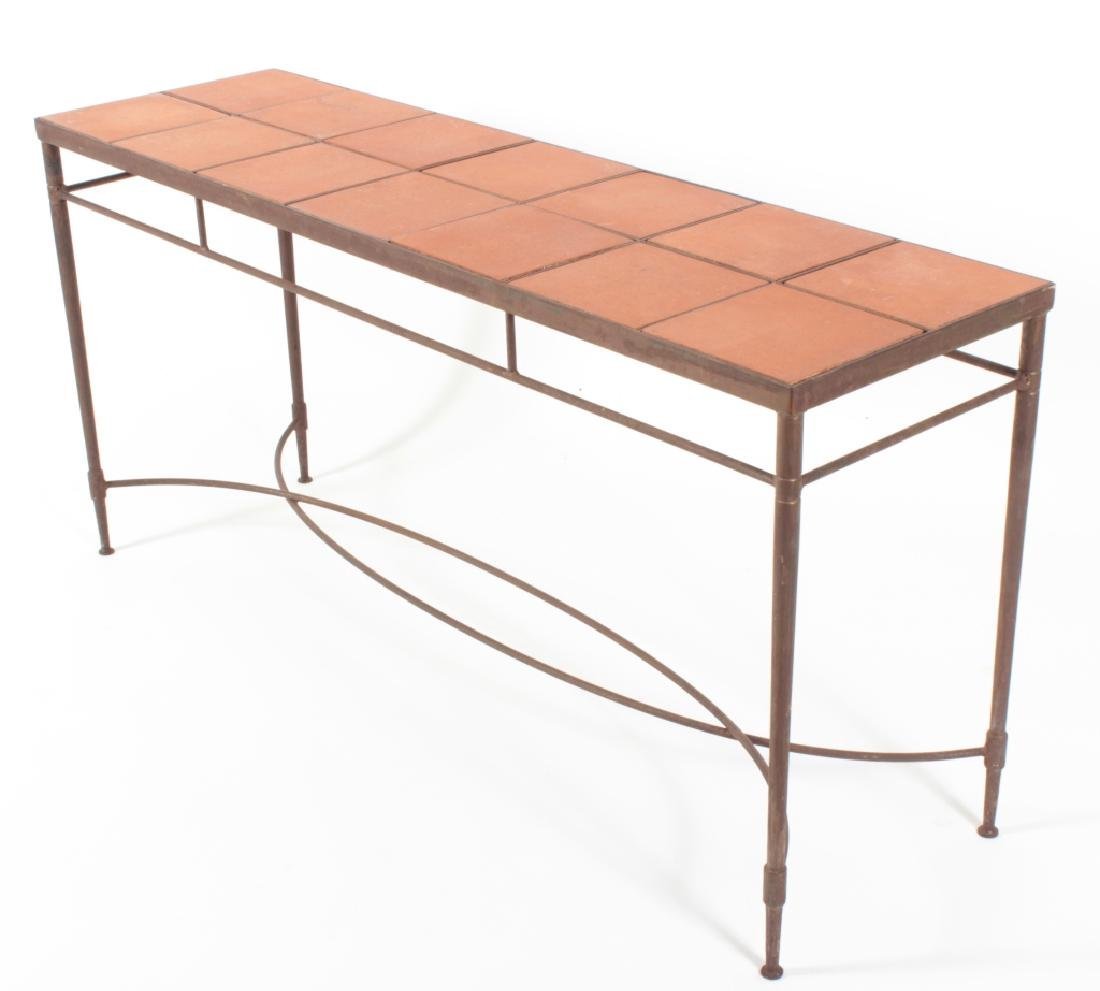 Tile Topped Iron Console Table, c. 1975