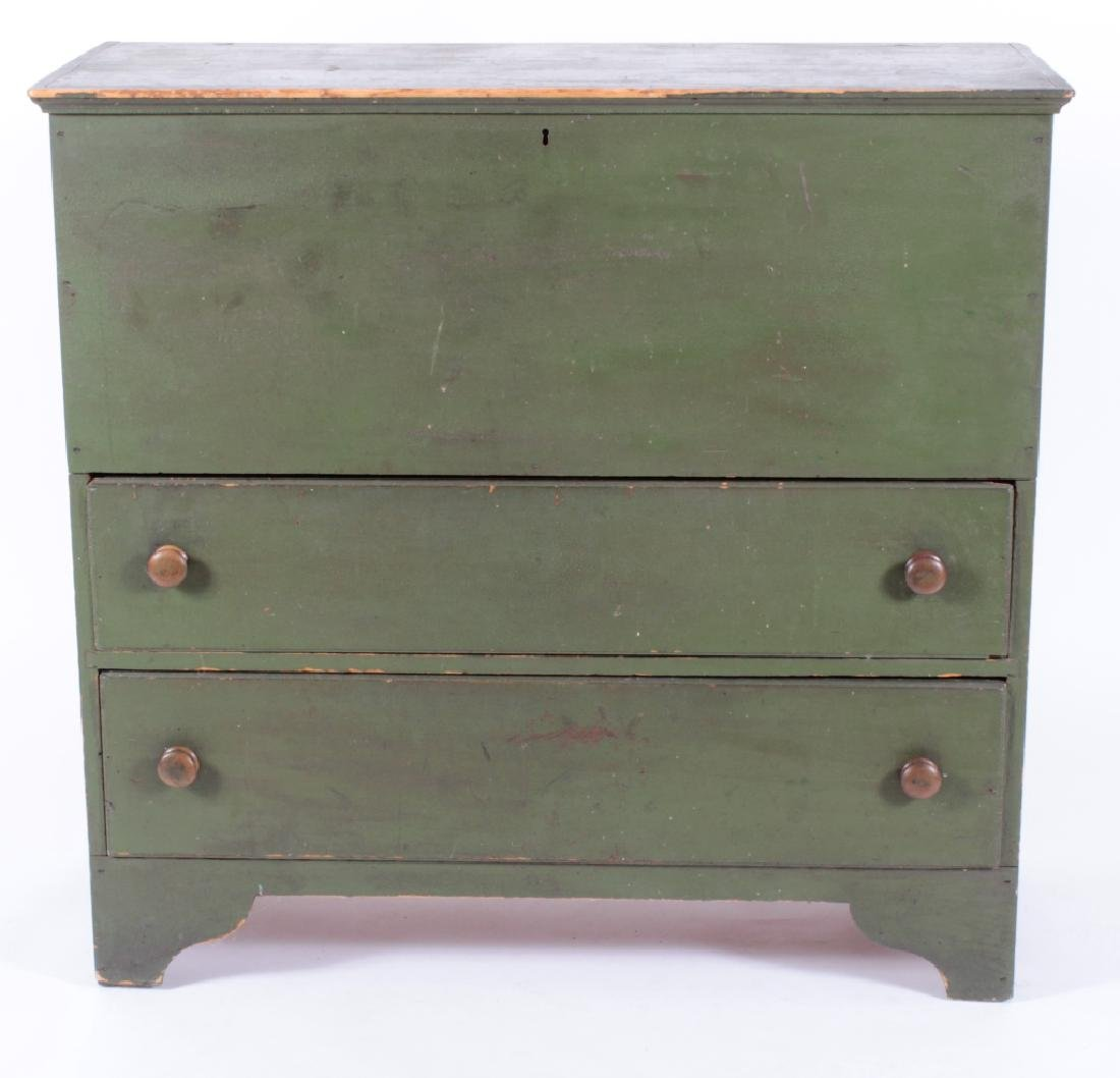 Green Painted Pine Mule Chest, 2 Drawers