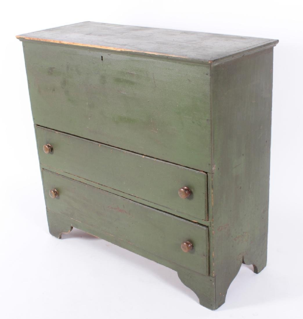 Green Painted Pine Mule Chest, 2 Drawers - 2