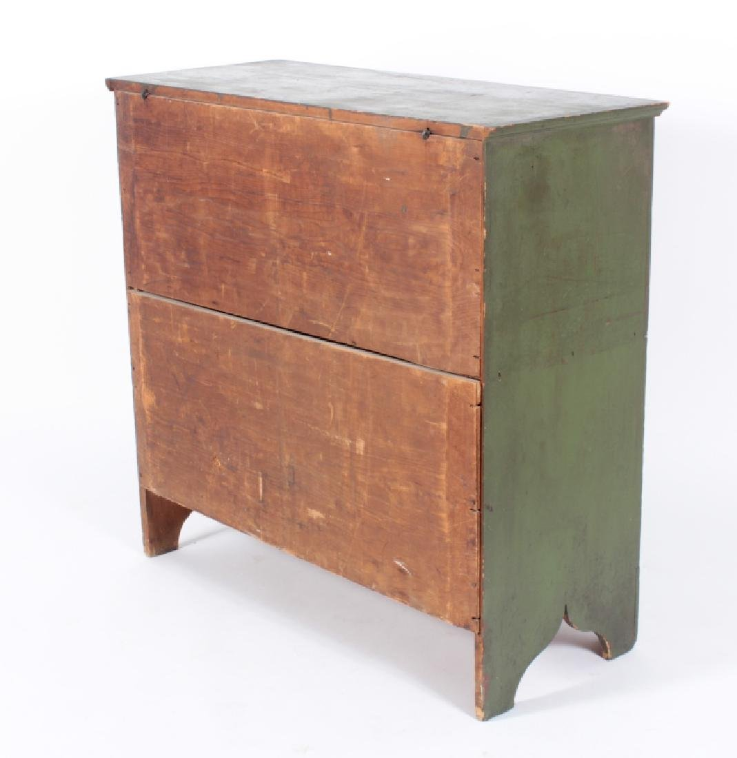 Green Painted Pine Mule Chest, 2 Drawers - 5