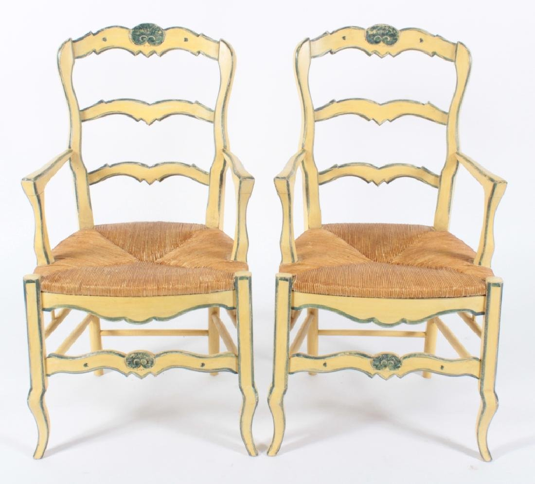 Pair Yellow-Painted Country Chairs w Cushions