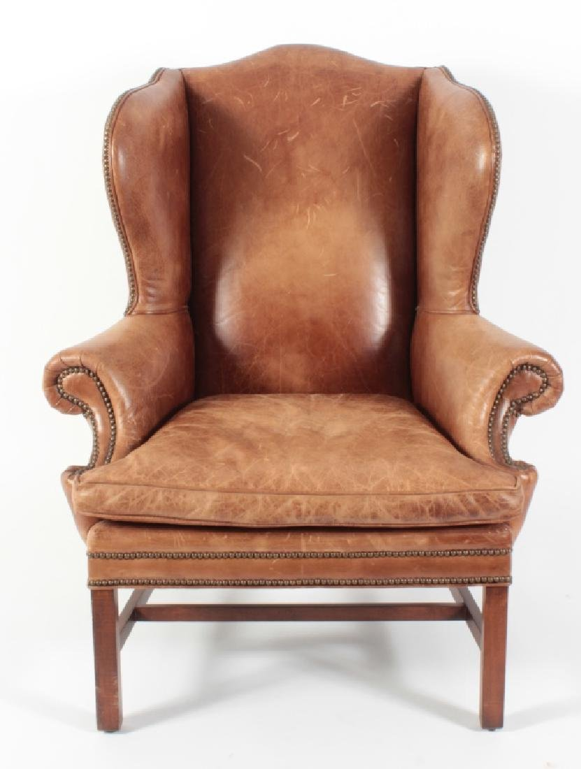 Ralph Lauren Brown Leather Roll Arm Wing Chair