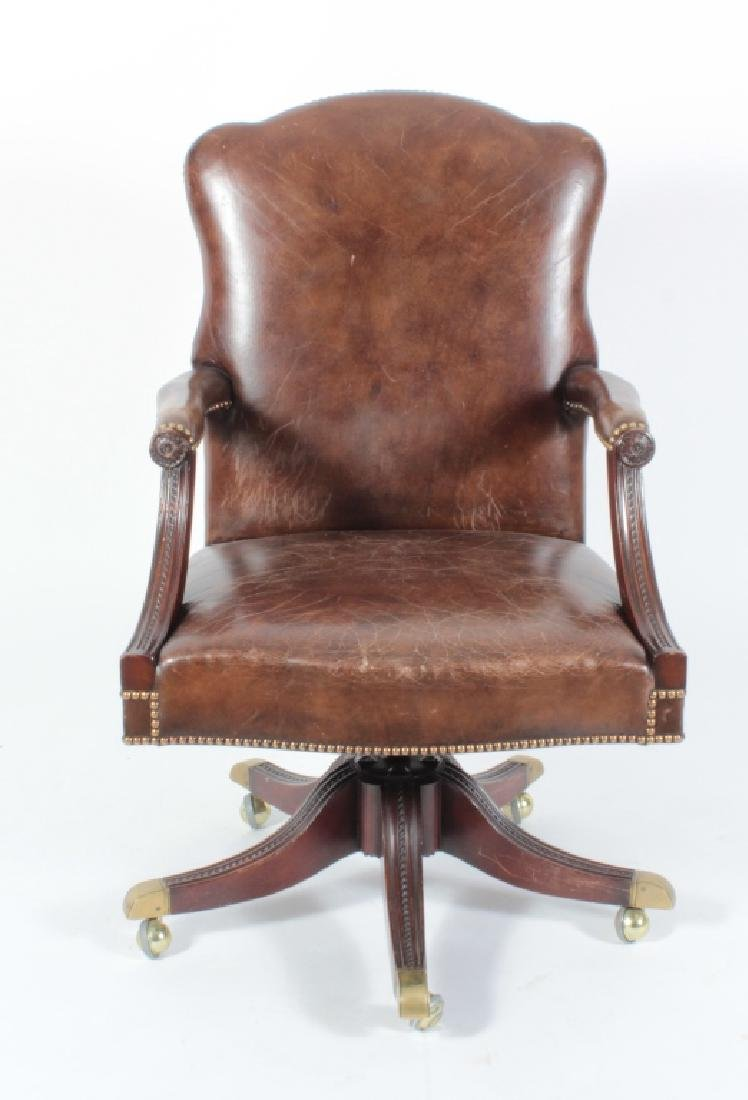 Brown Leather and Mahogany Chair, Swivel w Casters