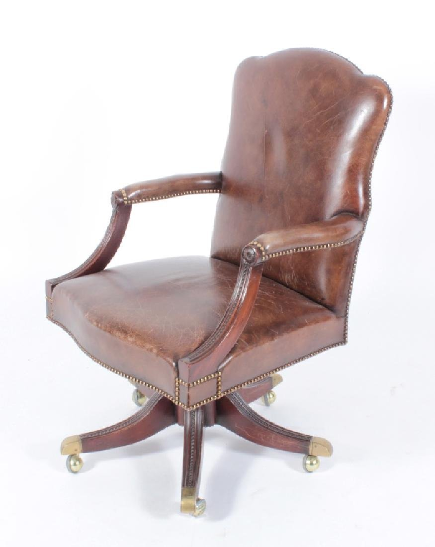 Brown Leather and Mahogany Chair, Swivel w Casters - 2