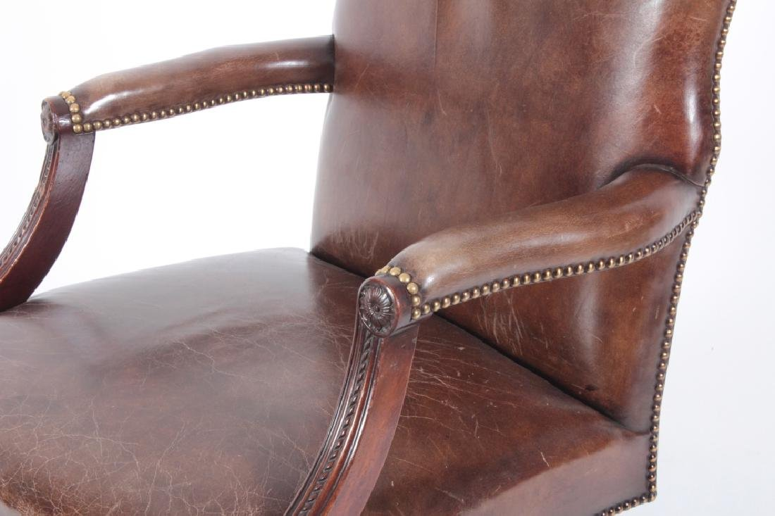 Brown Leather and Mahogany Chair, Swivel w Casters - 3