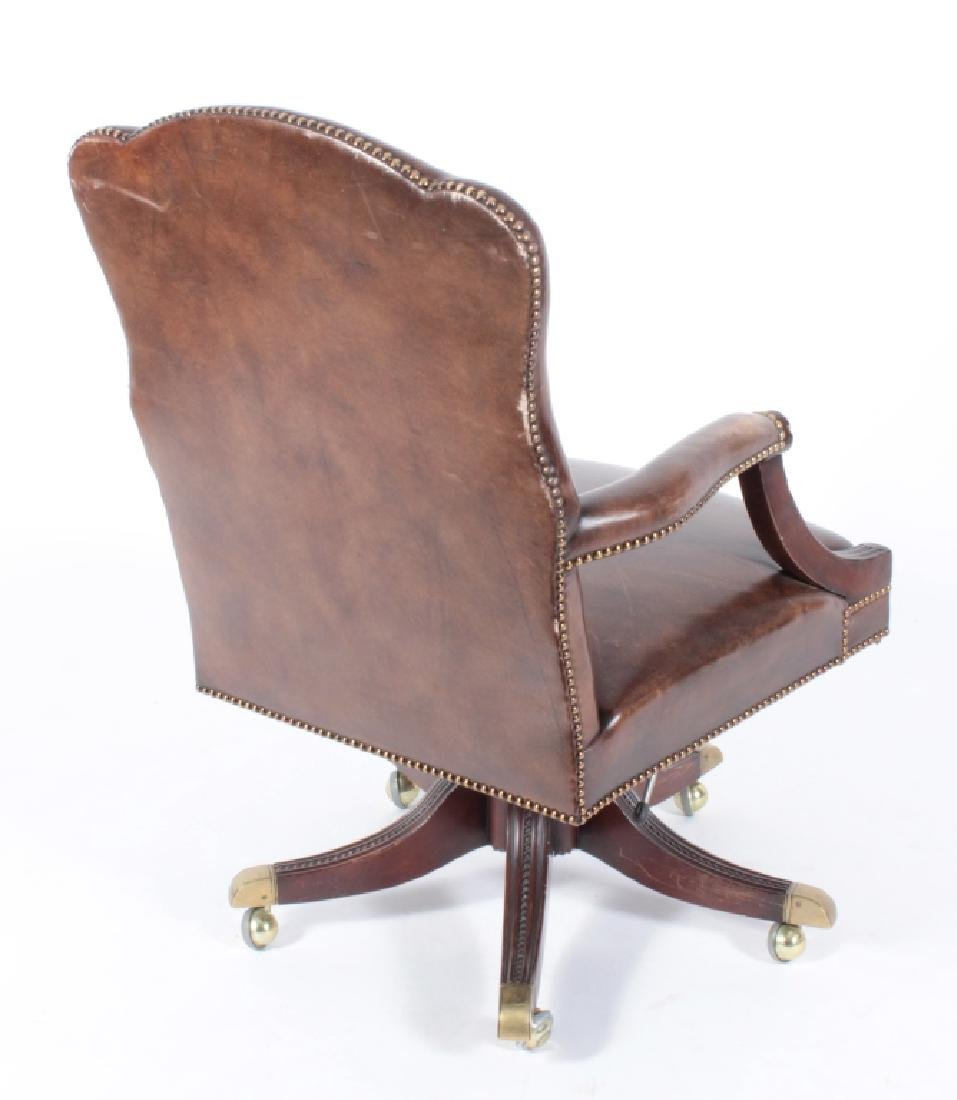 Brown Leather and Mahogany Chair, Swivel w Casters - 4