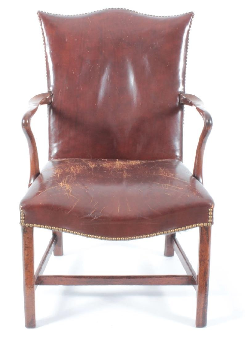 A period George III Open Armchair w Leather