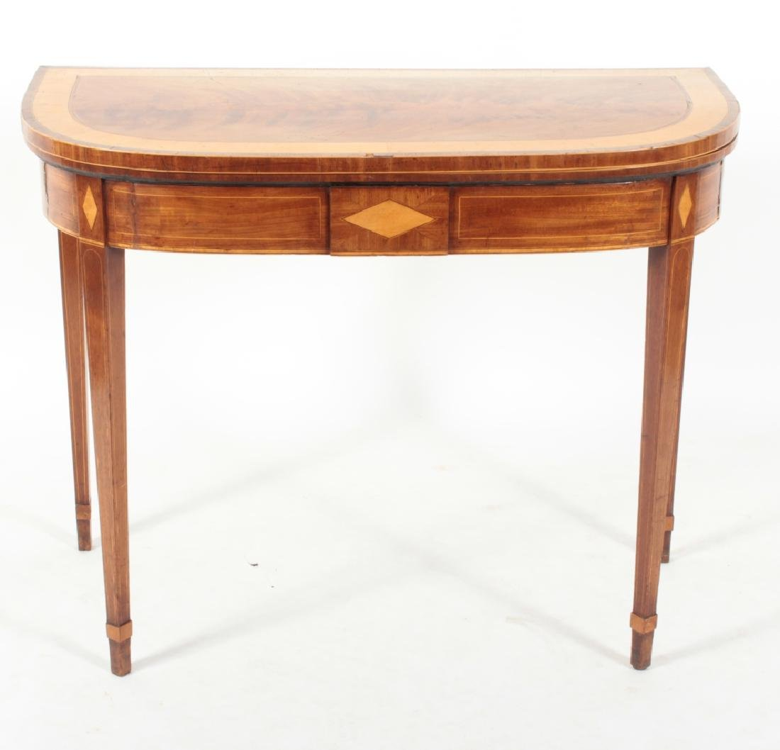 Regency Flame Mahogany Satinwood Banded Game Table