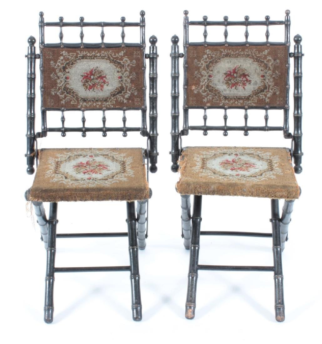 Pr. E.W. Vaill Faux Bamboo Needlepoint Chairs 1875
