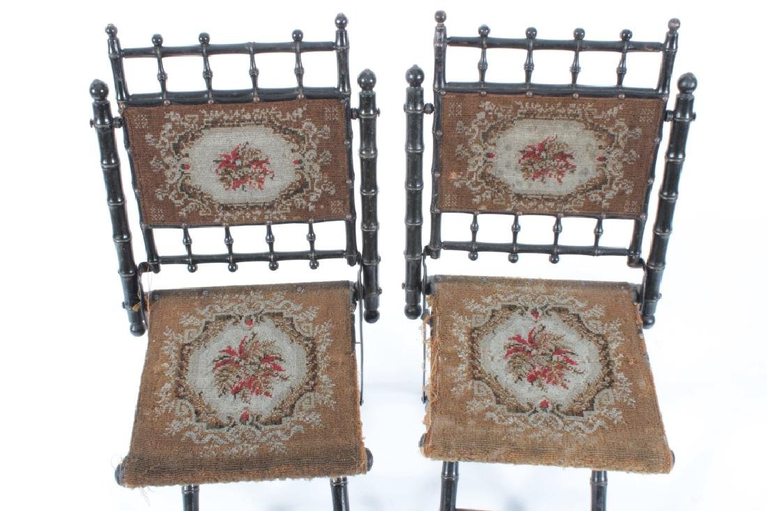 Pr. E.W. Vaill Faux Bamboo Needlepoint Chairs 1875 - 2