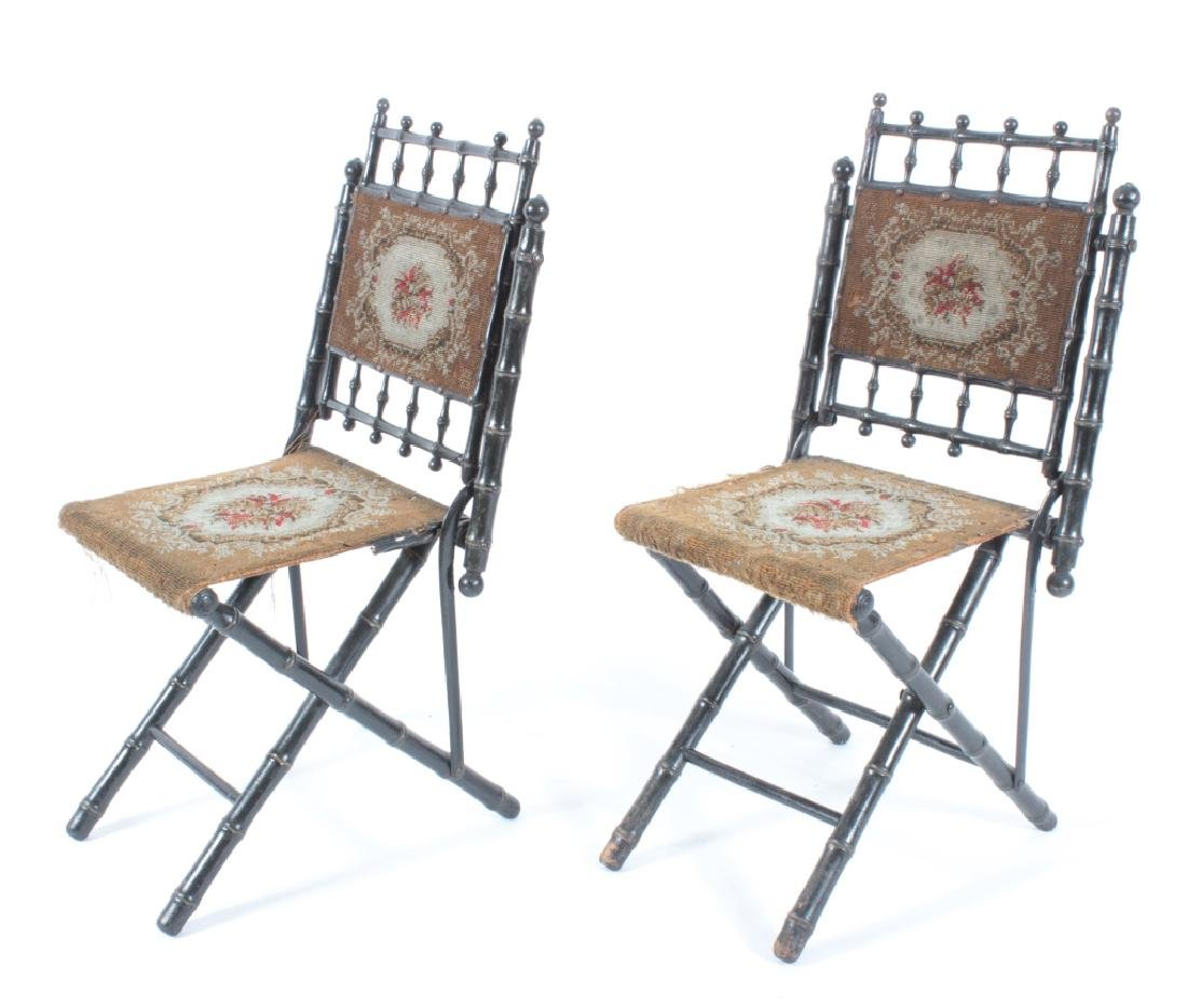 Pr. E.W. Vaill Faux Bamboo Needlepoint Chairs 1875 - 4