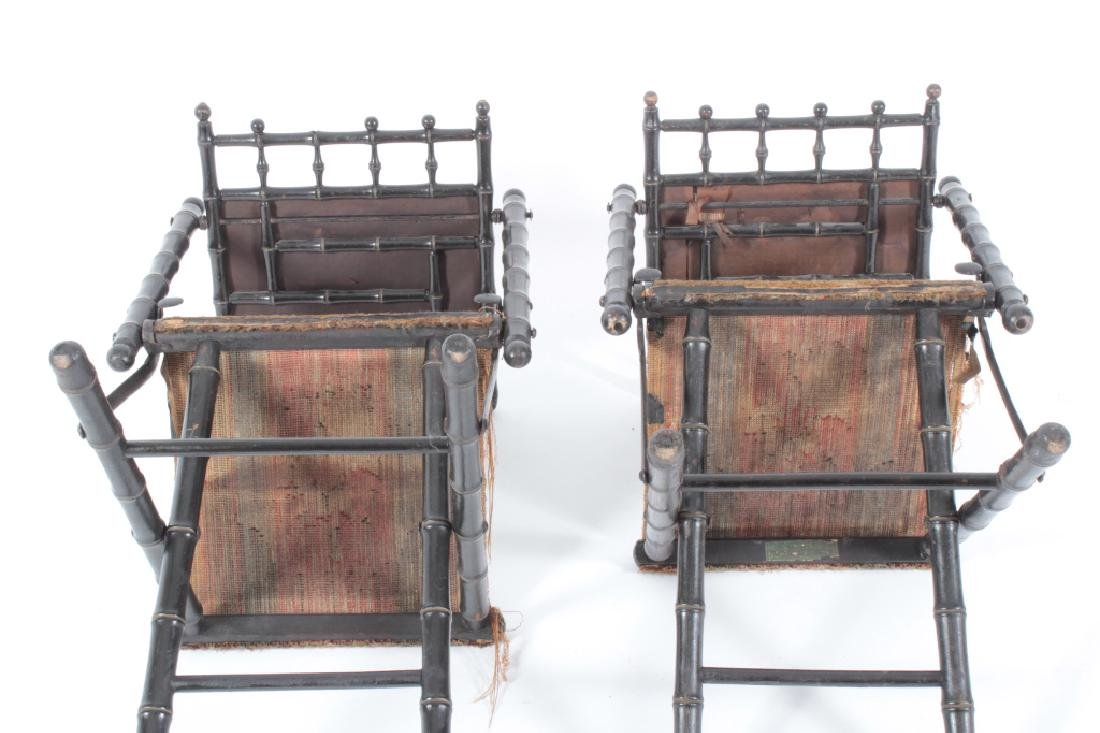 Pr. E.W. Vaill Faux Bamboo Needlepoint Chairs 1875 - 6