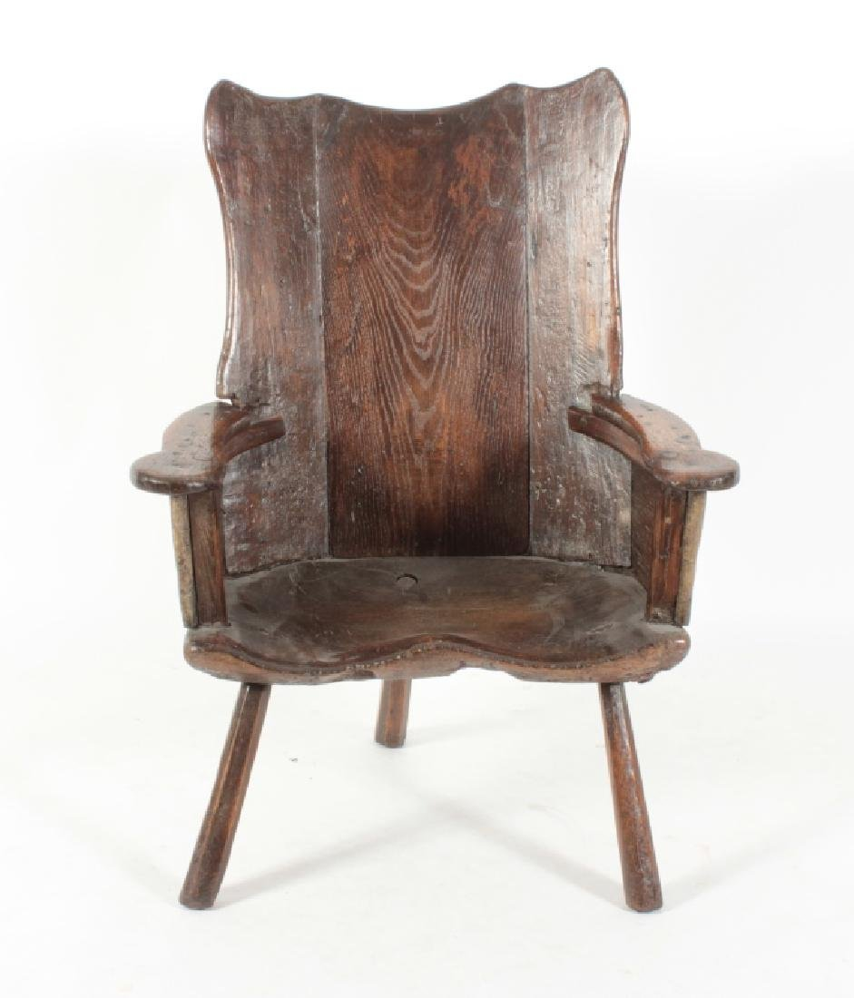 English Oak 3 Legged  Primitive Armchair, c. 1600
