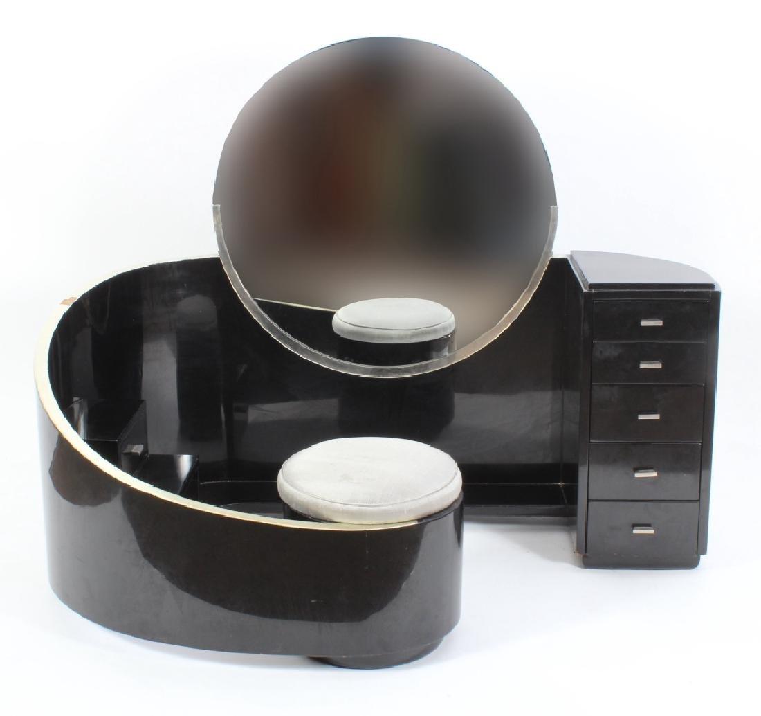 Art Deco Black Lacquered Vanity w/ Round Mirror