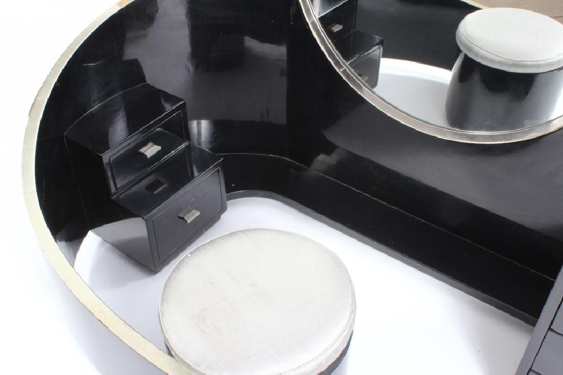 Art Deco Black Lacquered Vanity w/ Round Mirror - 2