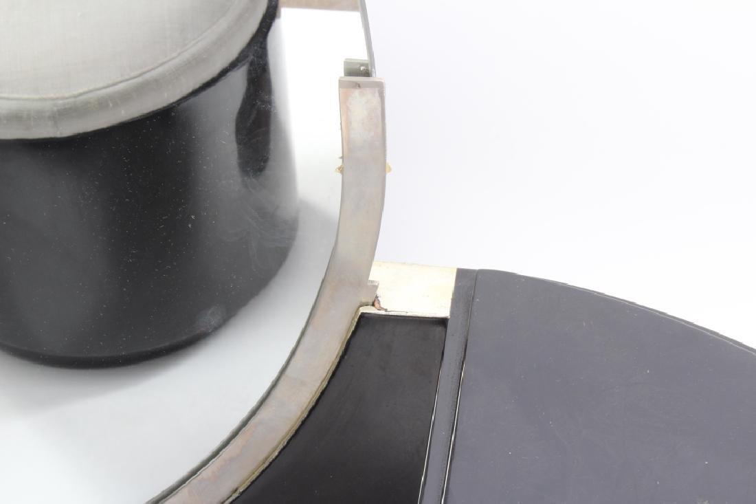 Art Deco Black Lacquered Vanity w/ Round Mirror - 5