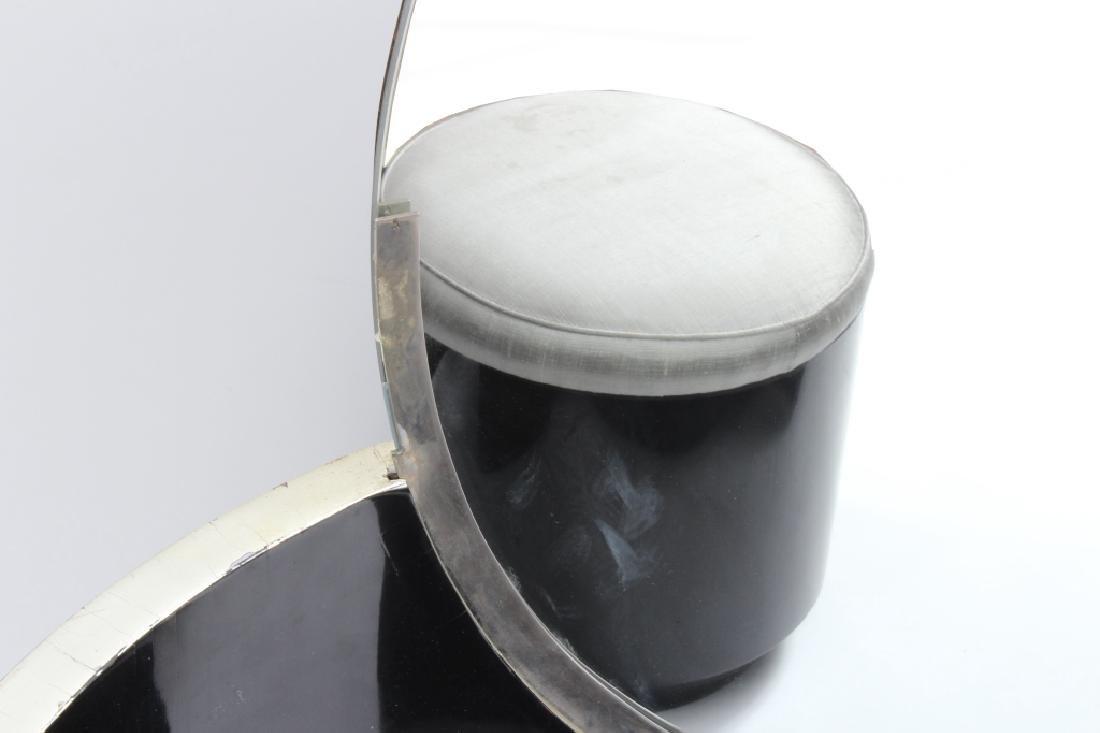 Art Deco Black Lacquered Vanity w/ Round Mirror - 6