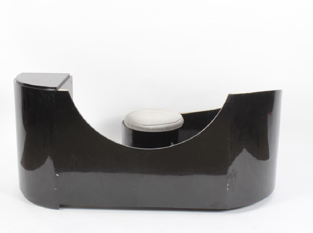 Art Deco Black Lacquered Vanity w/ Round Mirror - 8