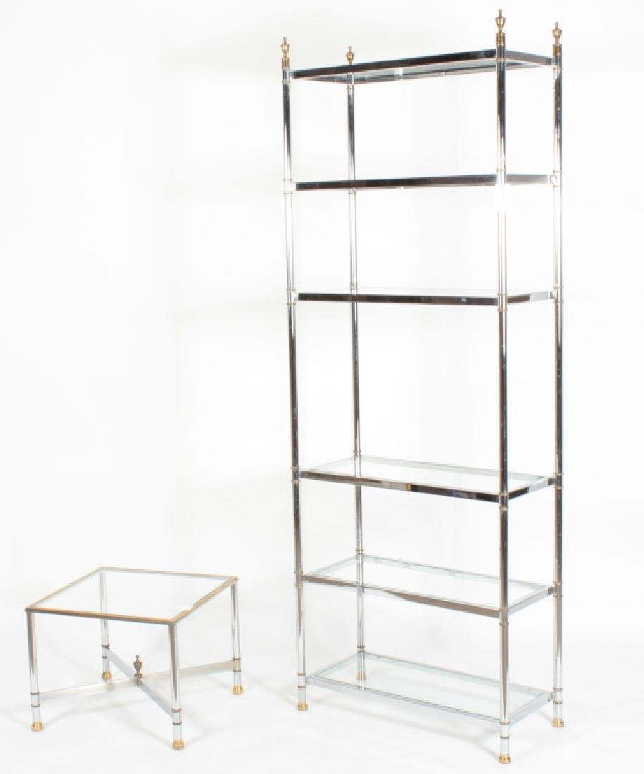 2 Pcs: Chrome and Glass Etagere and Side Table