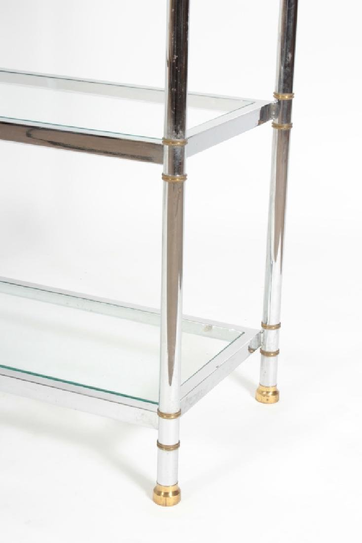 2 Pcs: Chrome and Glass Etagere and Side Table - 3