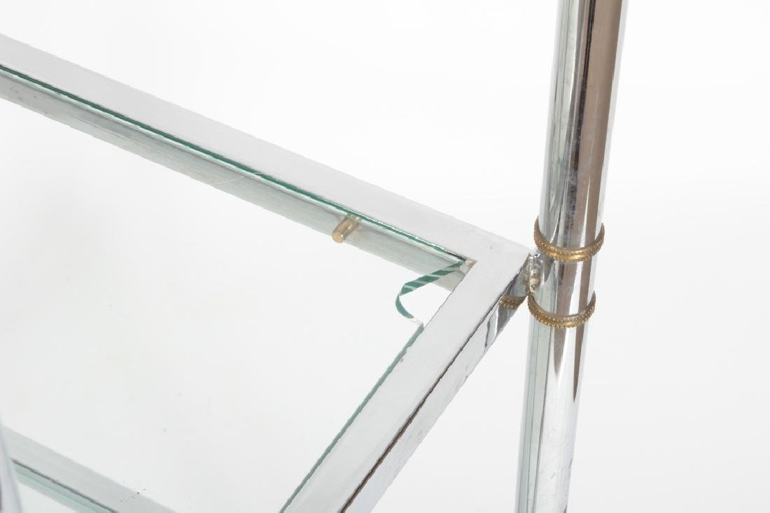 2 Pcs: Chrome and Glass Etagere and Side Table - 4