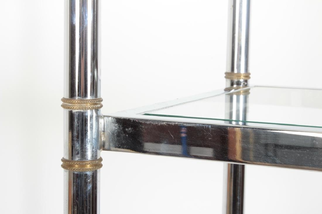 2 Pcs: Chrome and Glass Etagere and Side Table - 6