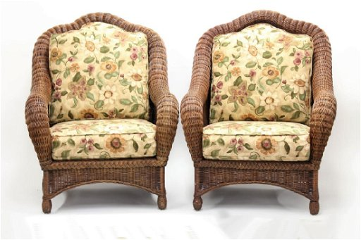 Ethan Allen Large Wicker Patio Chairs