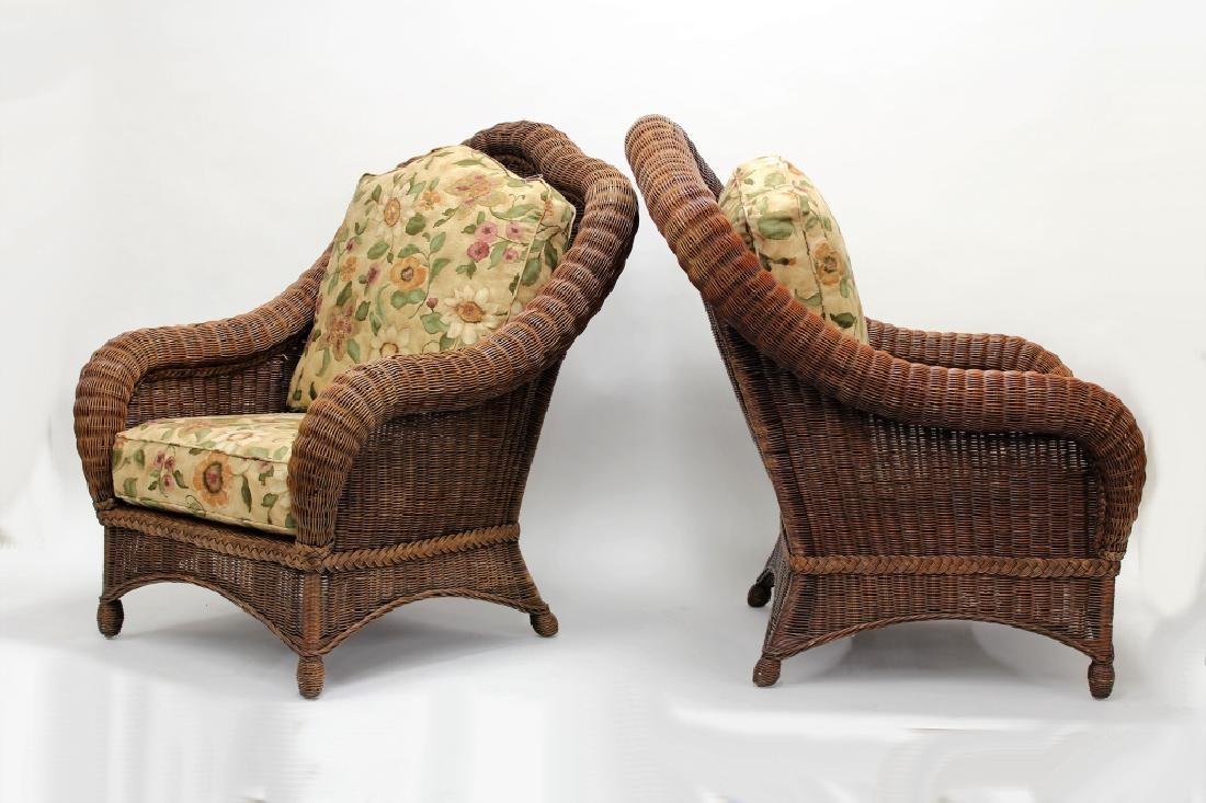 Pair of Ethan Allen Large Wicker Patio Chairs - 2