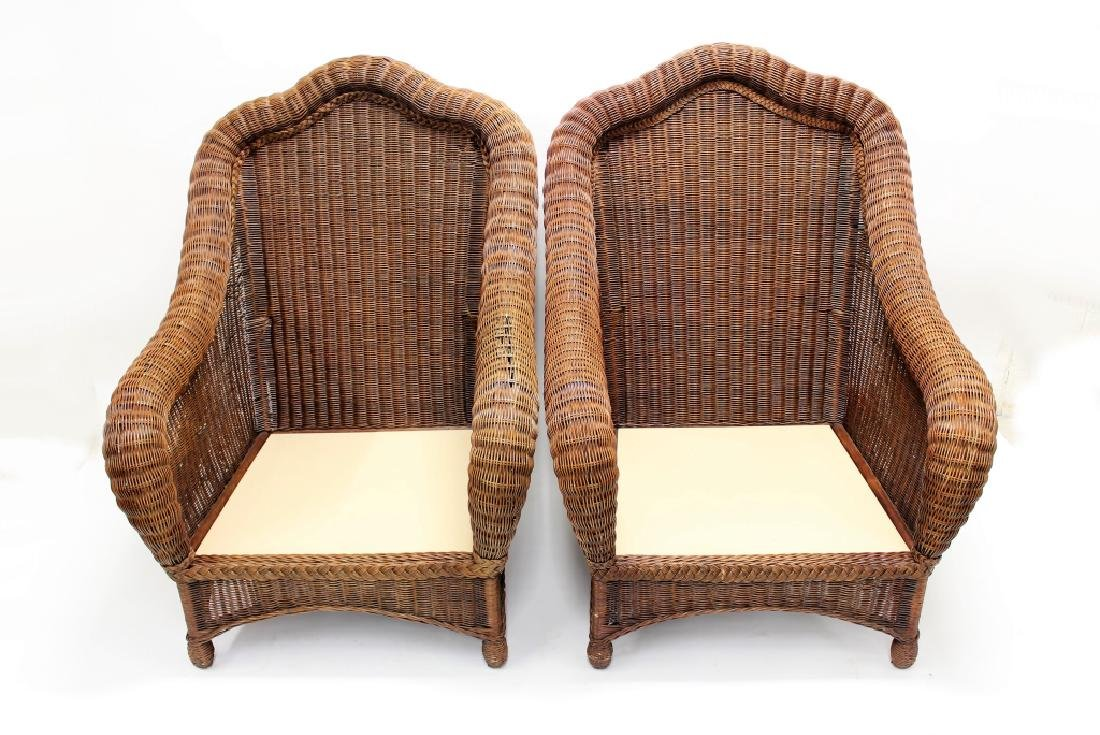 Pair of Ethan Allen Large Wicker Patio Chairs - 3