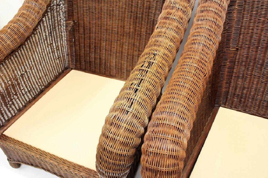 Pair of Ethan Allen Large Wicker Patio Chairs - 4