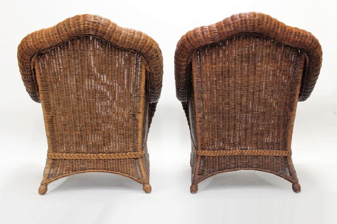 Pair of Ethan Allen Large Wicker Patio Chairs - 5