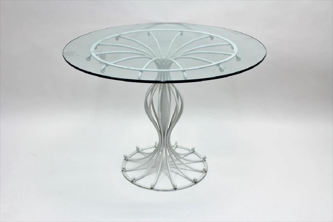 Bistro Table, Metal w/ Round Glass Top, 20th c.