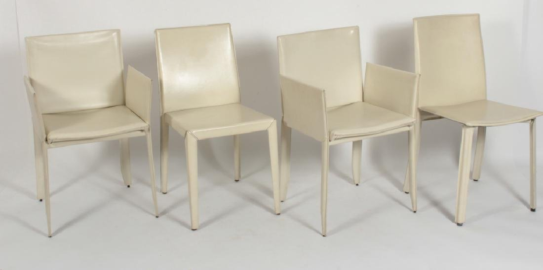4 Ivory Leather Clad  Chairs, 3 By Cattelan Italia