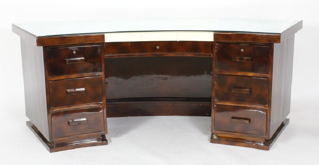 Art Deco Mottled Brown Lacquered Desk