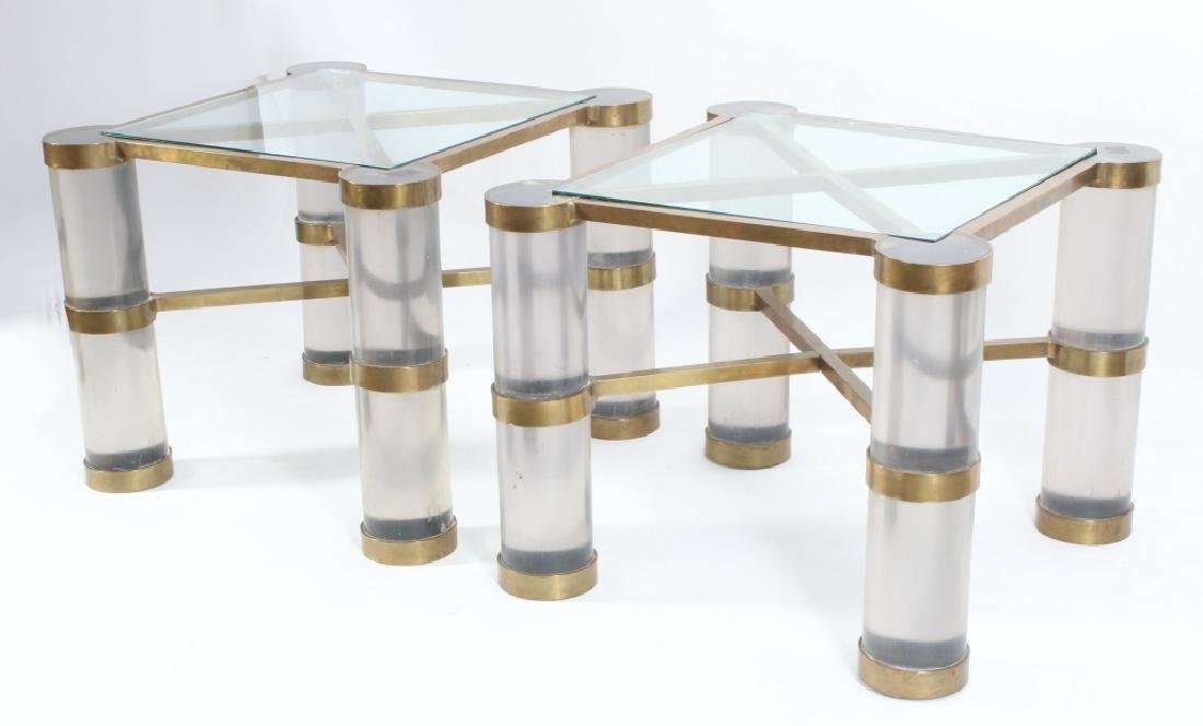 Pair of Acrylic & Brass End Tables Manner of Jones
