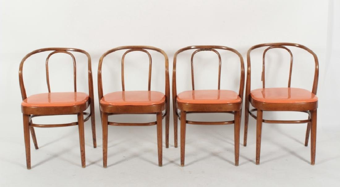Set of 4 Modern Bentwood Arm Chairs