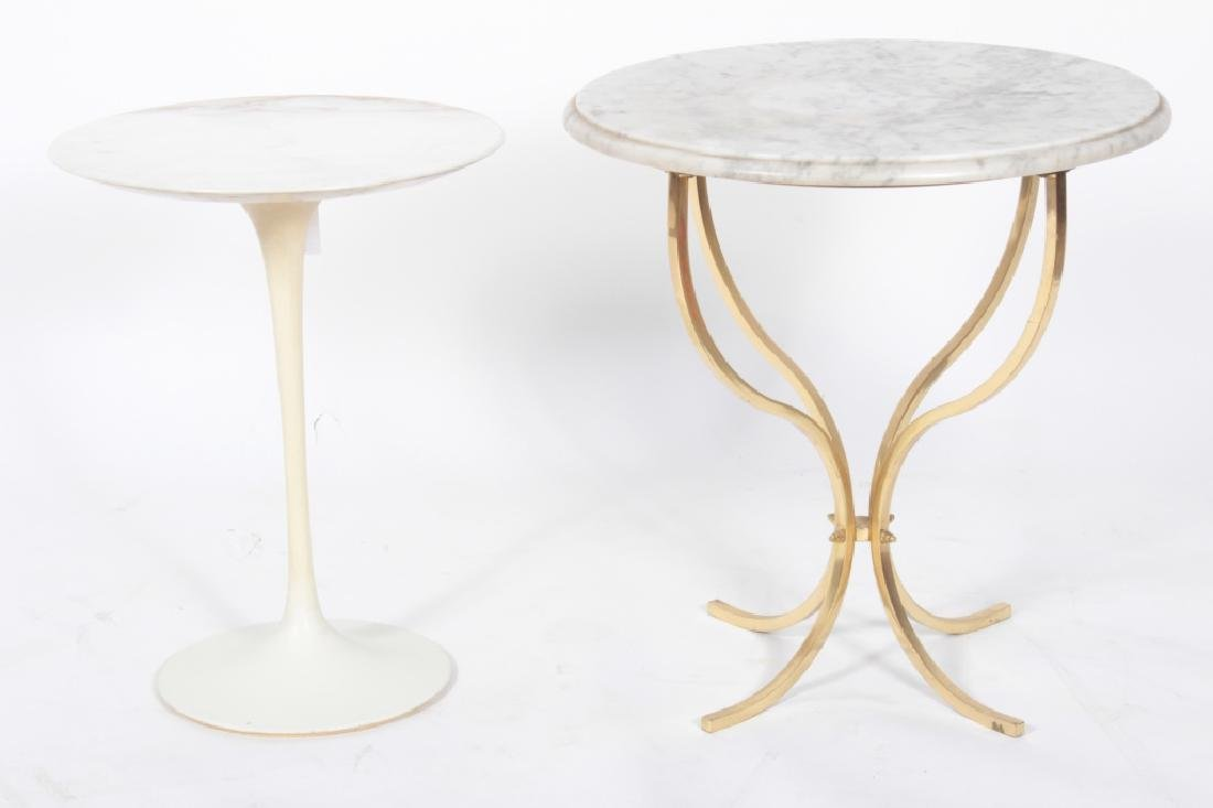 2 Small Side Tables Marble Tops, a Saarinen Tulip