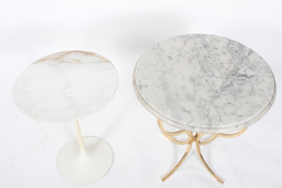 2 Small Side Tables Marble Tops, a Saarinen Tulip - 2