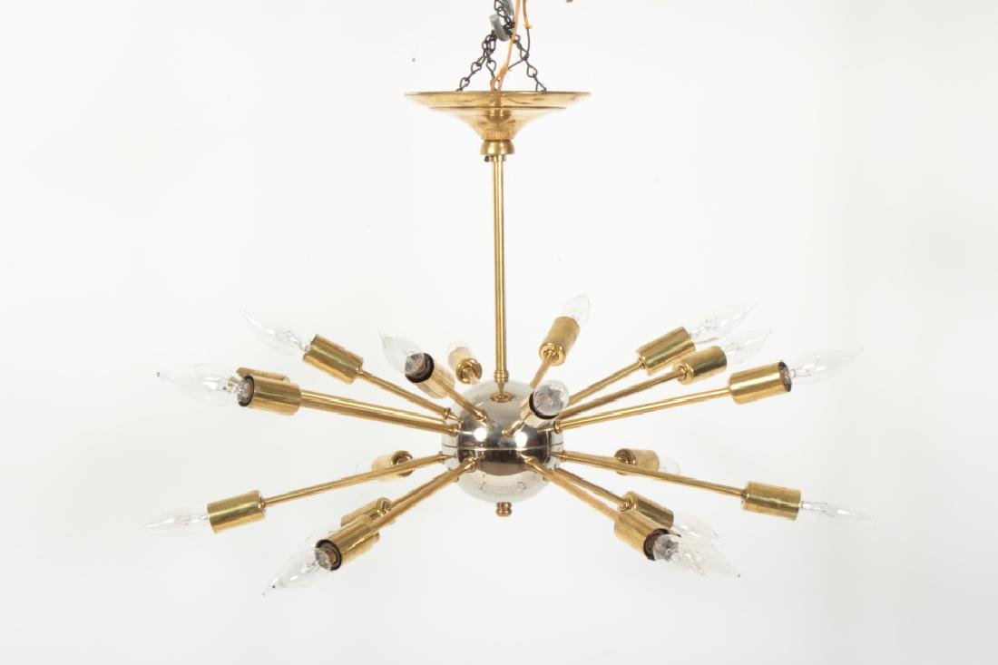 1950's Sputnik Chrome & Brass 20 Light Chandelier